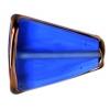 Glass Lamp Bead 22x18x5mm Sapphire/Bronze Triangle